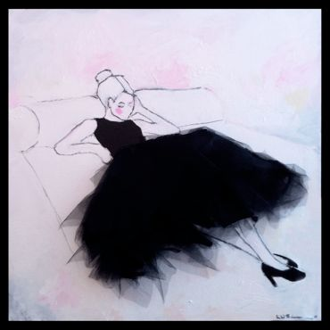 Oil on canvas.Size 75 x 75 cmWith textile application, tulle/ Lisa W Breitholtz