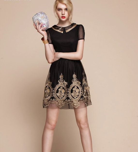 Baroque royal gold embroidery dress -  - folk russian theme small black coctail dress