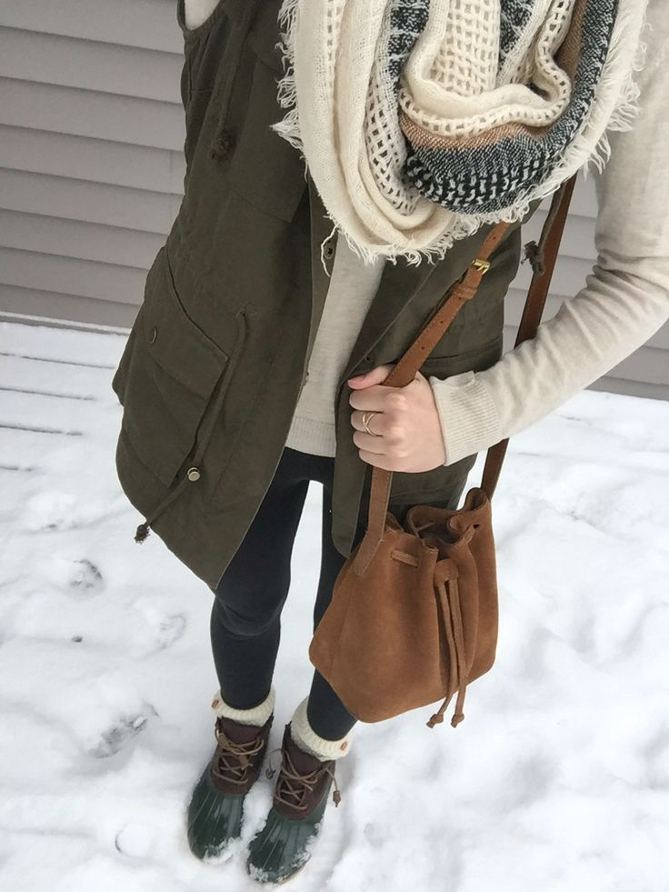 Army green ootd Shoes: Sperry, Boot cuffs: Francesca's, Leggings: Pink, Vest: Dry Goods, Scarf, Sweater, and ring: Nordstrom BP, Bag: JCrew