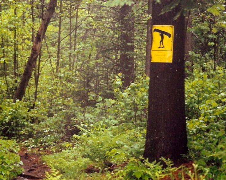 Portage sign in Algonquin Park, Ontario