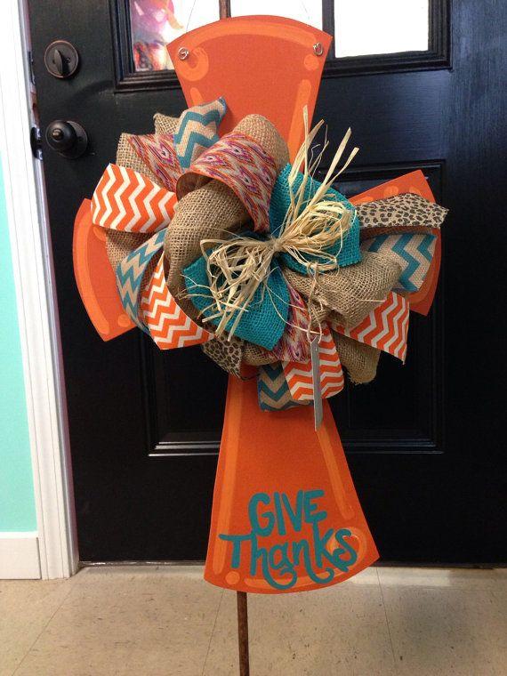 Orange give thanks cross door hanger by ArtzyDecorAndMore on Etsy
