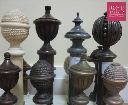 Some of our curtain rod end styles. www.rosetaylorcurtains.com