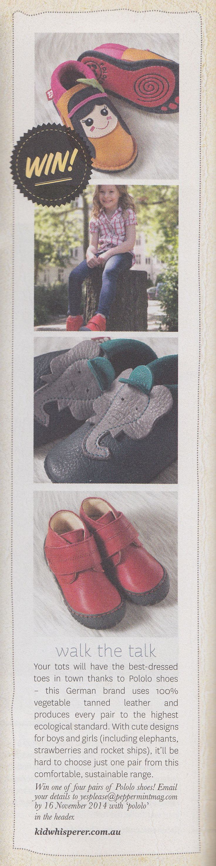 Win, win, win.... We are proud to be featured in  with our stunning #PololoChildrensShoes... And you can win one of 4 pairs! How? Just get in touch with Peppermint Magazine!