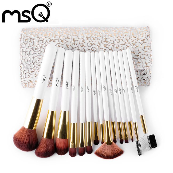 MSQ Marca Pro 15 pz Pennelli Trucco di Alta Qualità Set Capelli Sintetici Molli Strumento di Cosmetici PU Custodia In Pelle Per La Moda bellezza