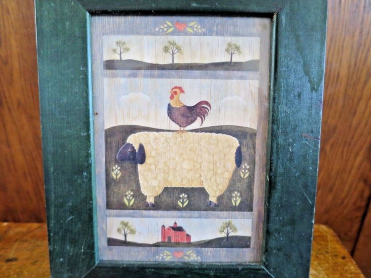 Folk Art Sheep & Rooster Primitive Mary Peckingham Farm Framed Double Matted | eBay