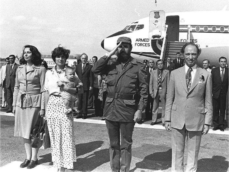 Departure ceremony in Havana concluded PIerre Trudeau's 1976 state visit to Cuba. Margaret Trudeau stands with baby Michel next to Fidel Castro and Pierre Trudeau at the departure ceremony in Havana at the end of the Trudeaus' 1976 state visit to Cuba.