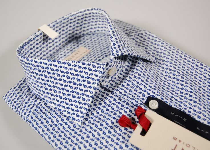 Blue patterned pancaldi stretch cotton shirt