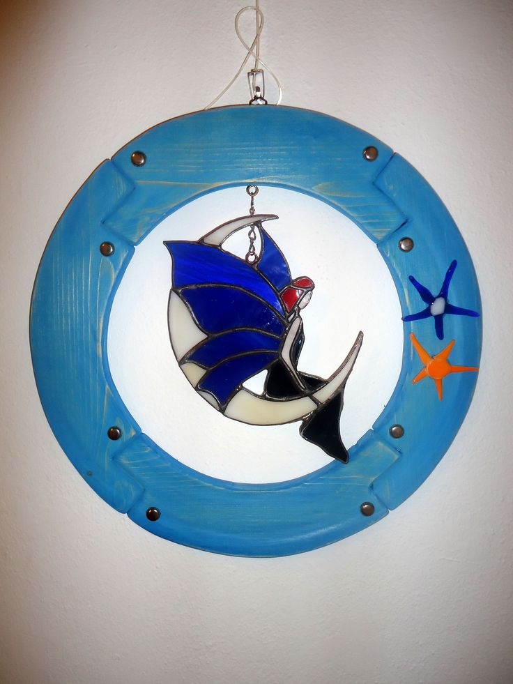 Stained glass fairy in a circle wooden frame