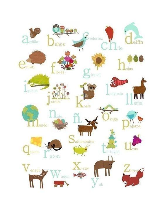 Alfabeto Español impresión 11 x 14 vivero pared por ChildrenInspire