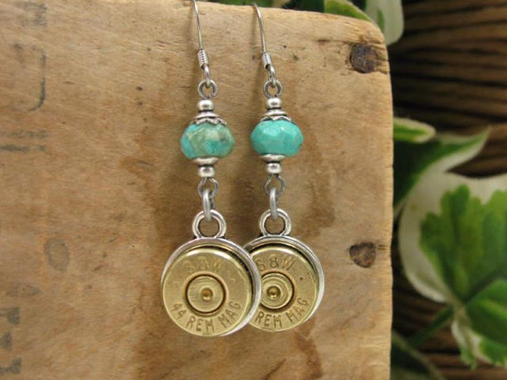 Bullet Casing Jewelry - Genuine 44 Magnum Bullet Casing Earrings - Mixed Metals with Genuine Turquoise Beadwork
