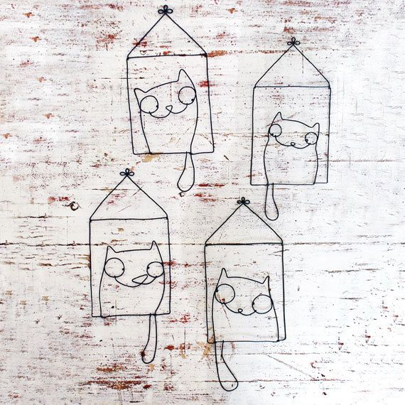 4 cats by WireDreams on Etsy