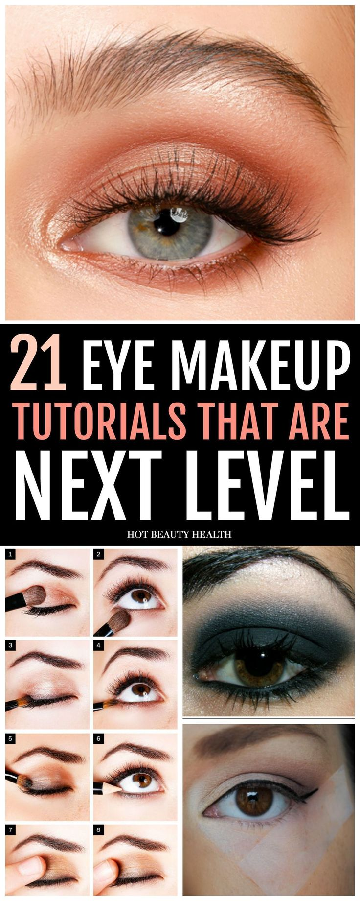 21 easy dramatic eye makeup ideas for beginners. Amazing smokey and colorful eye looks that are next level. You can find a tutorial for blue, green, hazel, or brown eyes; hooded eyes, cut crease, and more. Perfect for prom, wedding or an evening look. Click pin for step by step and video tutorials! Hot Beauty Health #makeuptutorials #eyemakeup #eyemakeuptutorials #makeuplookswedding #hoodedeyemakeup #cutcreasestepbystep