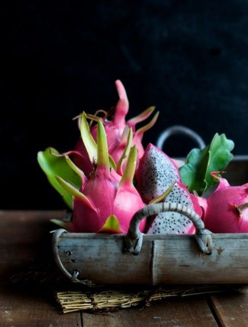 This Exotic Dragon fruit comes in pink & magenta. It's sweet, tangy & refreshing! It is covered in scales (fins & bracts) thus the name dragonfruit! ---love,yogagurl