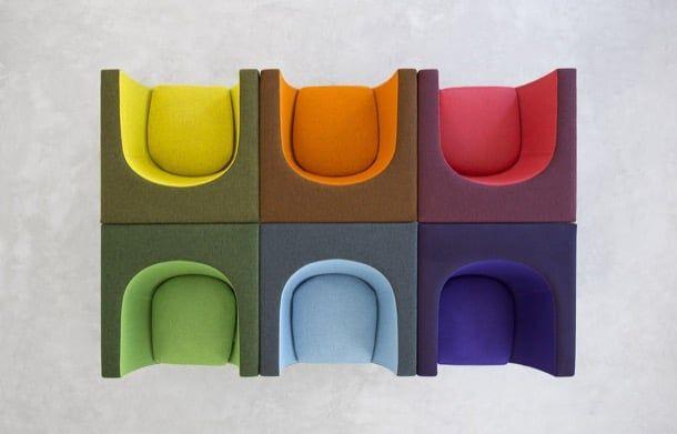 NUBE: moderna butaca de superficies planas y curvas. La marca española STUA diseña y fabrica la moderna butaca NUBE, un mueble definido por superficies planas, y otras curvas que forman el asiento. Es una silla contemporánea que difícilmente pasará de moda, y que por su geometría puede utilizarse para crear elegantes líneas de asientos, o formar grupos más compactos. Varias opciones de tapizado y color.  #Muebles