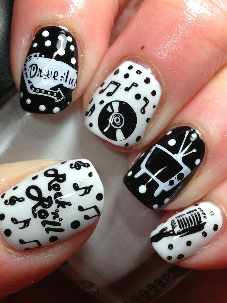 Classic 50s nail art!  #rockabilly #50s #nailart