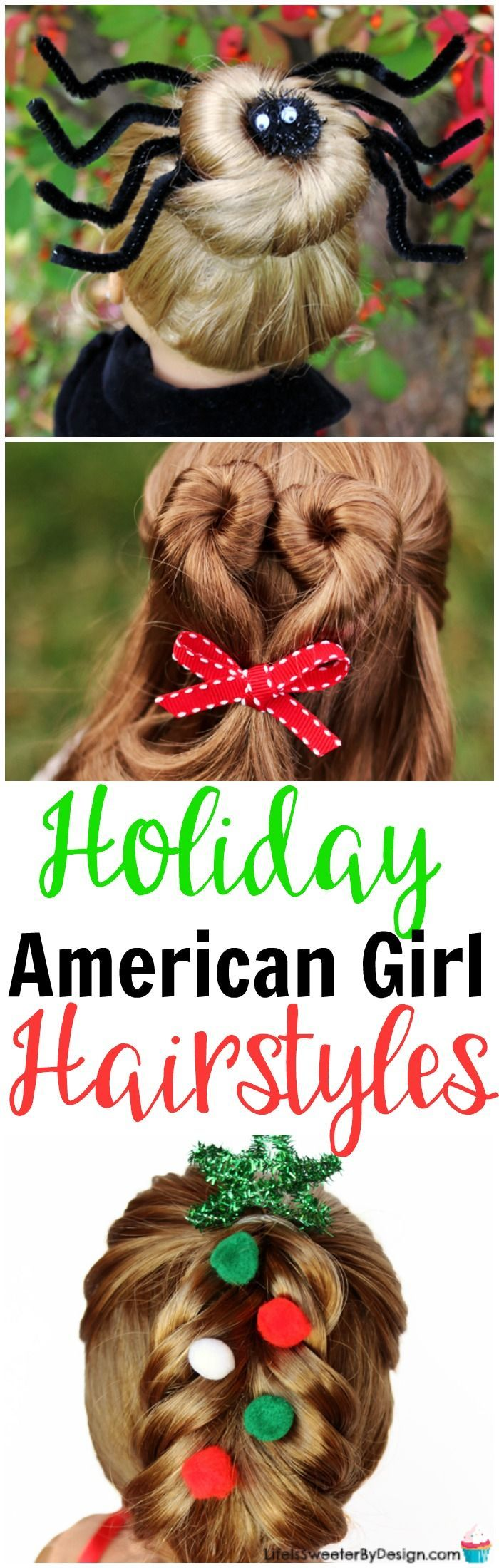 Holiday hairstyles for American Girl dolls are fun and festive. These easy doll hairstyles will make your 18 inch doll look adorable!