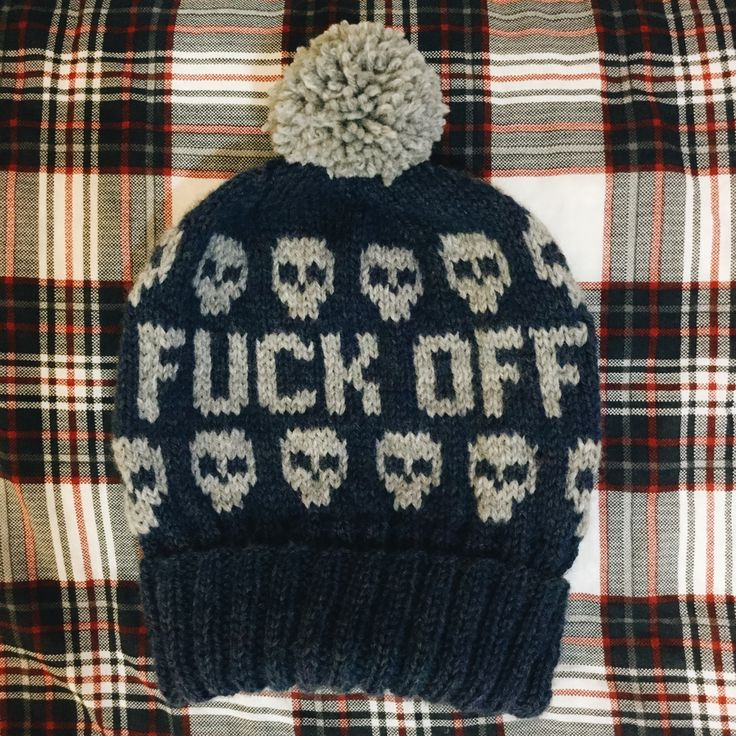 Choose your own colors for this hand knitted unisex beanie with the word FUCK OFF on the front and skulls pattern.    COLORS: The hat in this listing is in blue mist and heather grey. You can make your own color combination with the color chart shown. Please leave a note with the colors you c...