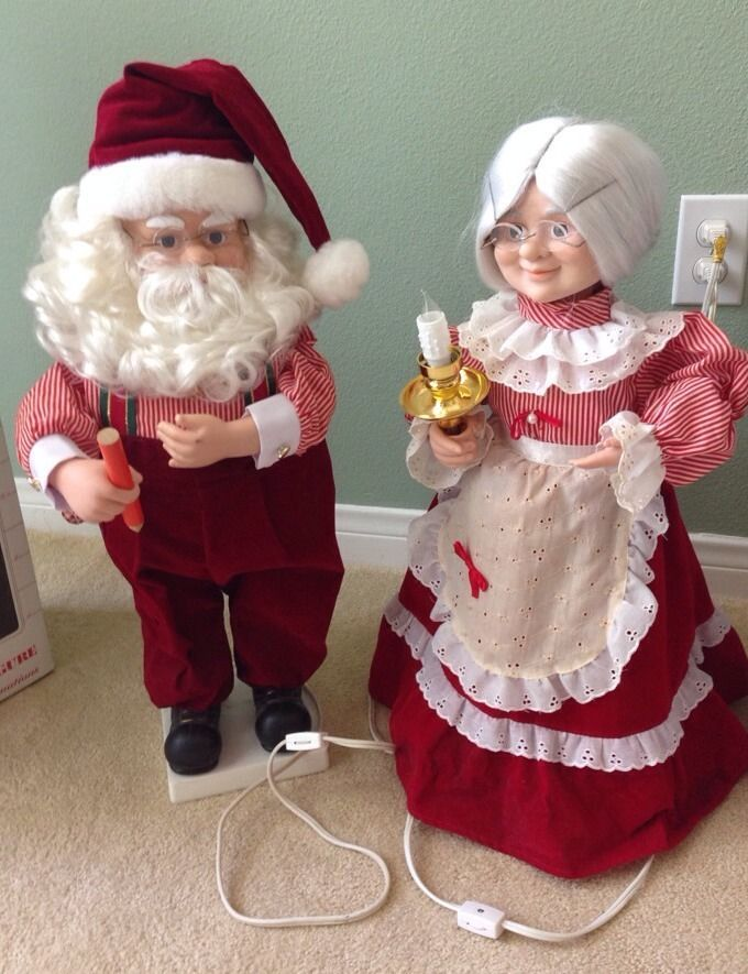 Vtg Telco Motionettes Christmas Both Santa Mrs Claus Animated Illuminated 24""