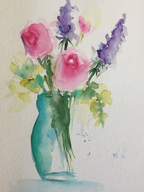 Original Watercolor Painting Flowers Flowers Watercolor In 2020