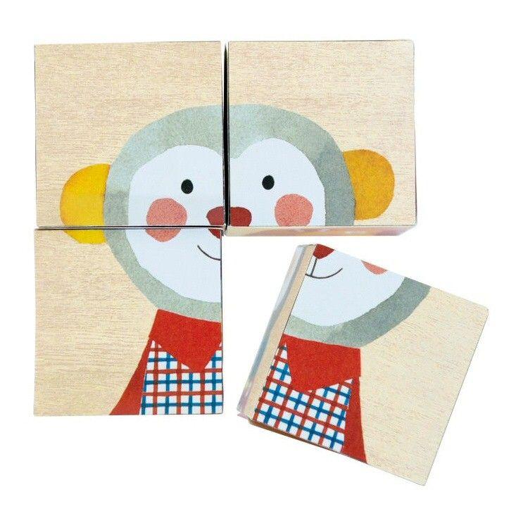 Je kan ze stapelen, omgooien en er mee puzzelen. 4 blokken en 6 afbeeldingen, formaat blok 5 x 5 x 5 cm