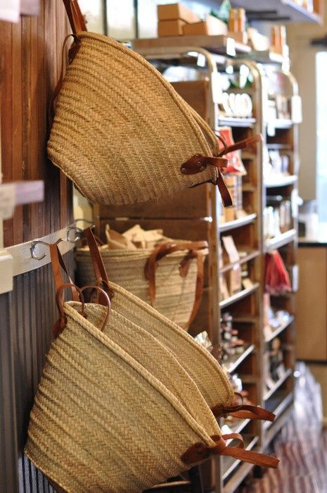 Great way to store produce, such as potatoes, onions and fruit: Hang matching baskets to kitchen/pantry wall.