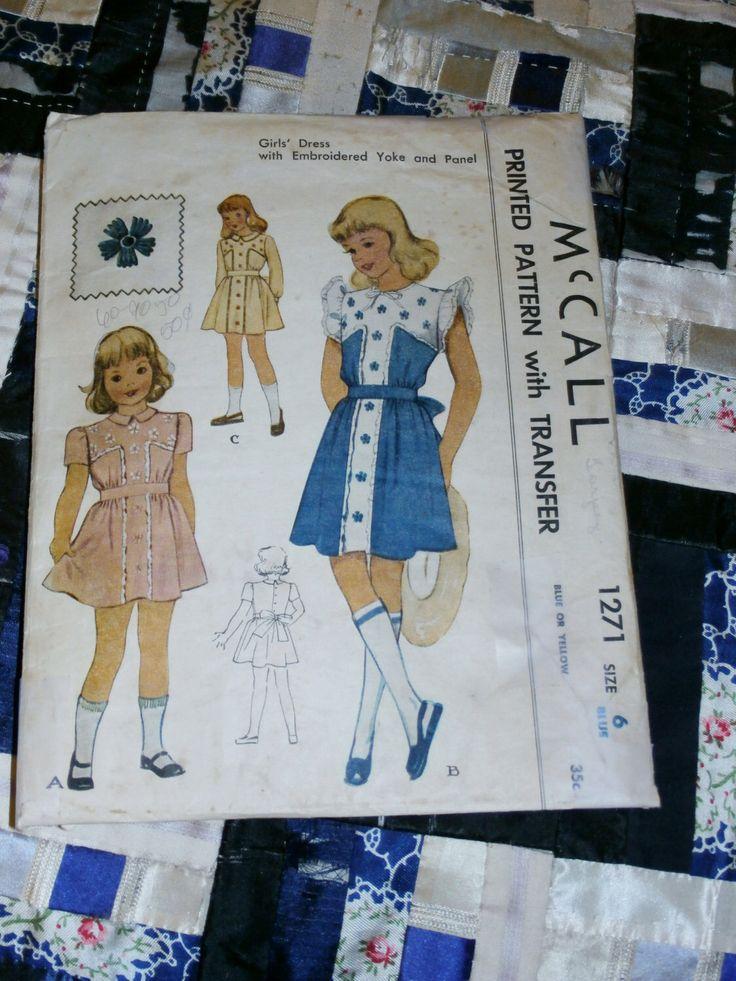 """1946 McCall modello 1271 per il vestito della ragazza con fiore trasferimento dimensione 6, seno 24 """", vita 22"""" di lakeviewarts su Etsy https://www.etsy.com/it/listing/158816437/1946-mccall-modello-1271-per-il-vestito"""