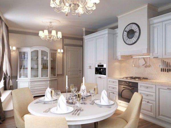 Светлая кухня в современном классическом стиле