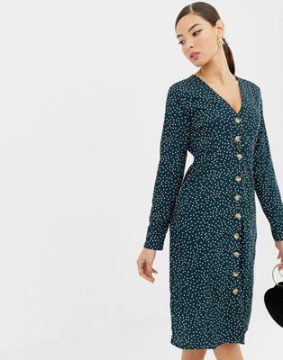 243dac5a31e2 Boohoo exclusive polka dot button through midi dress in green | My ...