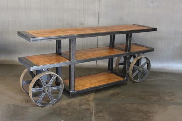 Credenza wood projects industrial art steel cart bar carts