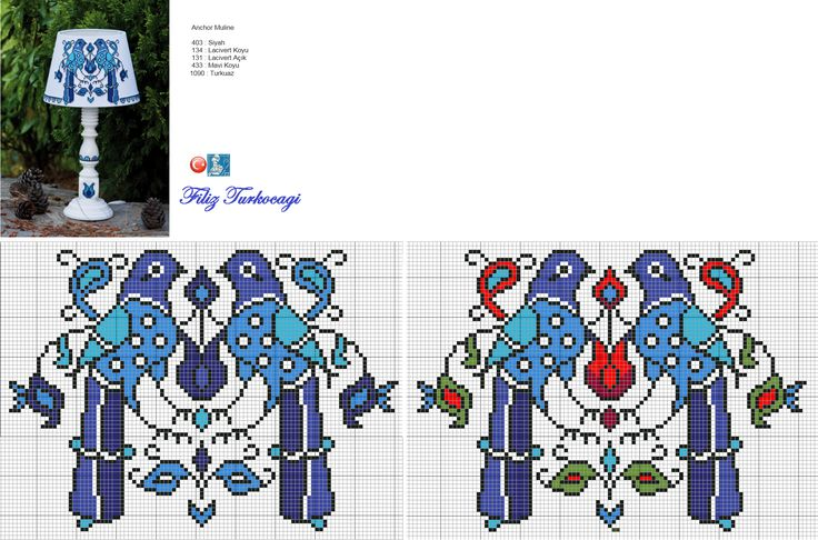 Mavi renklere gelmişken, çok severek kullandığım abajurumun da desenini sizlerle paylaşmak istedim...Araya çini katmazsam olmaz, biliyorsunuz sizler :) NOT: Renk listesi mavi desene aittir. Hangisini isterseniz... Designed and stitched by Filiz Türkocağı...( İZNİK chini )