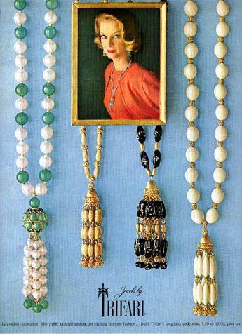 "Trifari 1962 fringe tassel necklaces ""Suspended Animation"""