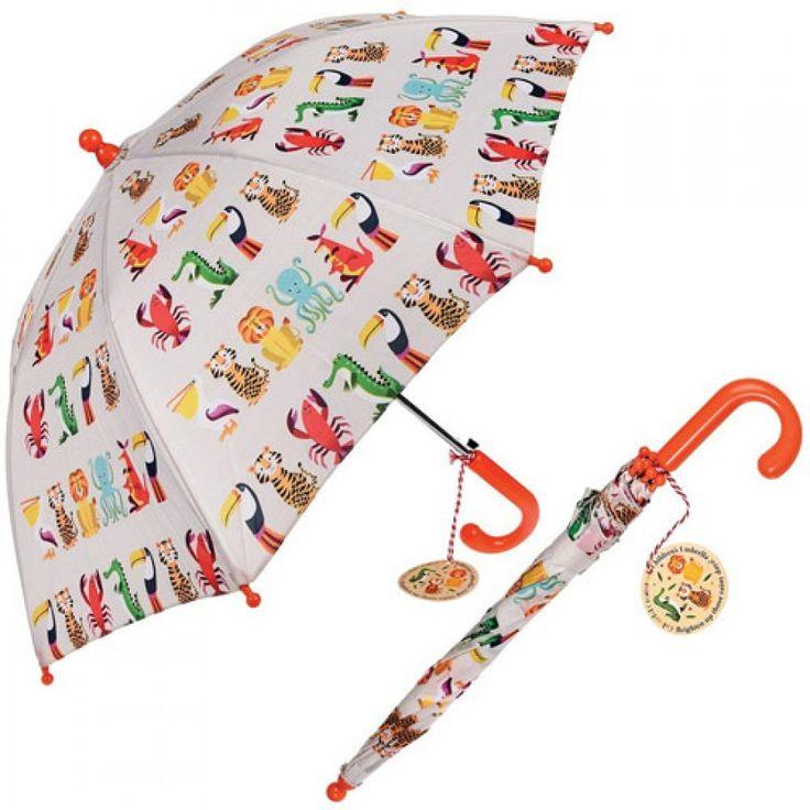 dotcomgiftshop kinderparaplu kleurrijke dieren R-umb26983 | ilovespeelgoed.nl