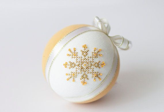 FREE SHIPPING Christmas tree ornament color of champagne linen covered with cross stitch snowflake on Etsy, $21.48 CAD