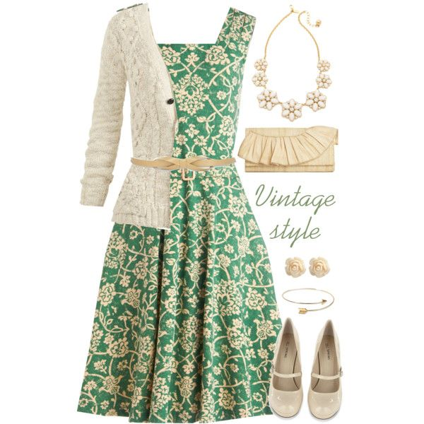 """Vintage style with Light green and Ivory :)"" by jamie-burditt on Polyvore"