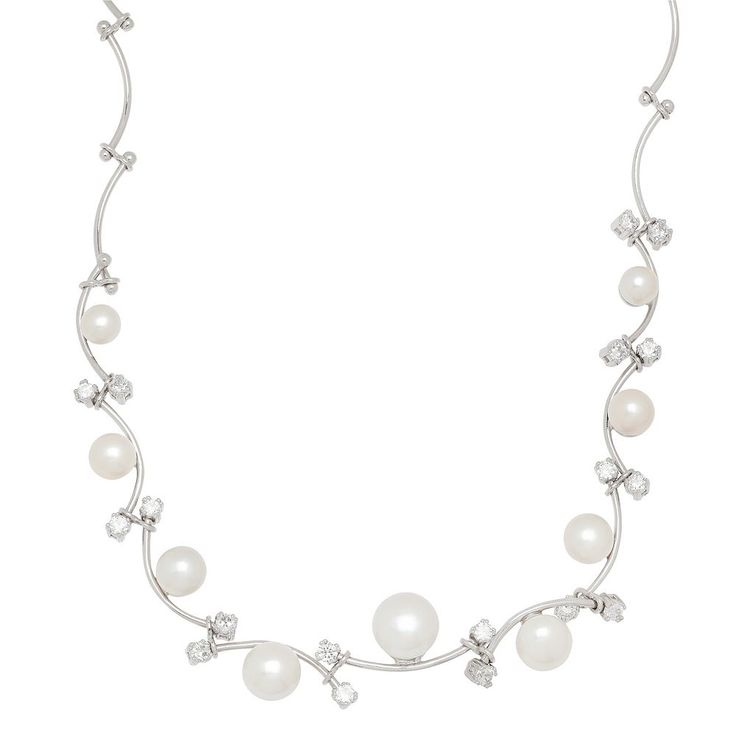 Freshwater by Honora Sterling Silver Freshwater Cultured Pearl Vine Necklace, Women's, White