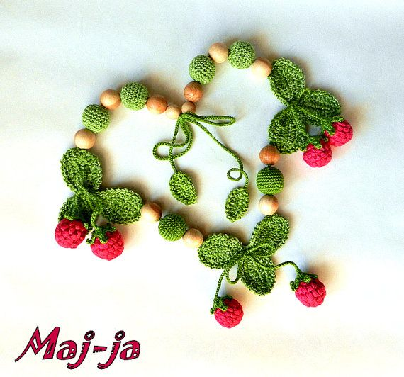 Raspberry moodFashion crochet necklace Beads with by MajjaCrochet