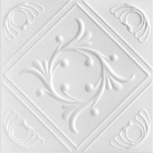 A La Maison Ceilings Diamond Wreath 1.6 ft. x 1.6 ft. Styrofoam Glue-up Ceiling Tile in Plain White (21.6 sq. ft. / case) R02pw-8 at The Home Depot - Mobile