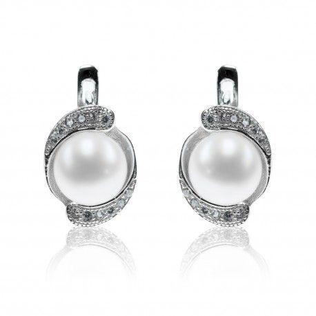 Stříbrné náušnice s perlou a dvěma linkami zirkonů