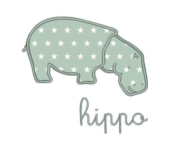 Hippo Applique Machine Embroidery Design Instant