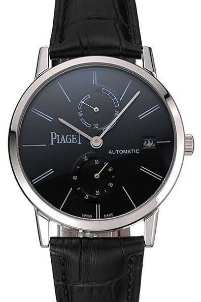 Piaget Altiplano Date Black Dial Stainless Steel Case Black Leather Strap Watch: Movement-Kinetic (Automatic), Quality-Japanese Miyota, Case-Polished stainless steel case, Back-Transparent mechanics-revealing polished stainless steel rimmed screwed down back with Piaget engravings