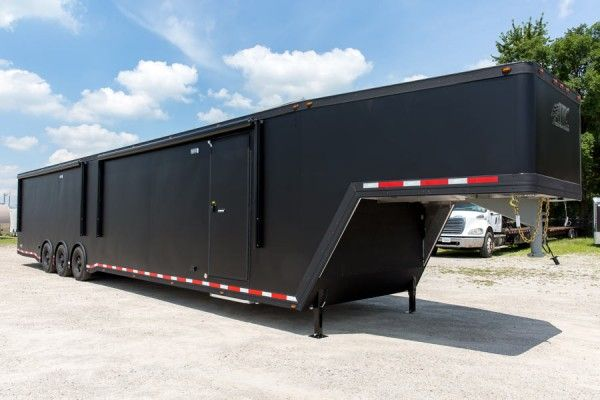Aluminum Trailer Company (ATC) Quest Enclosed Gooseneck CH 405 Car Haulers And Race Trailers Matte Black Moores Custom Trailers