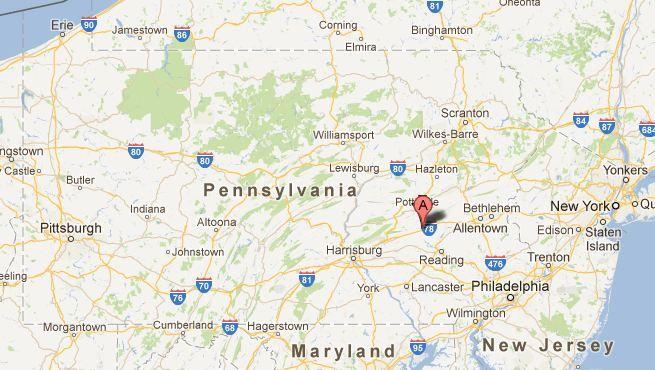 Location of first American Amish Settlement, Northkill, Pennsylvania ...