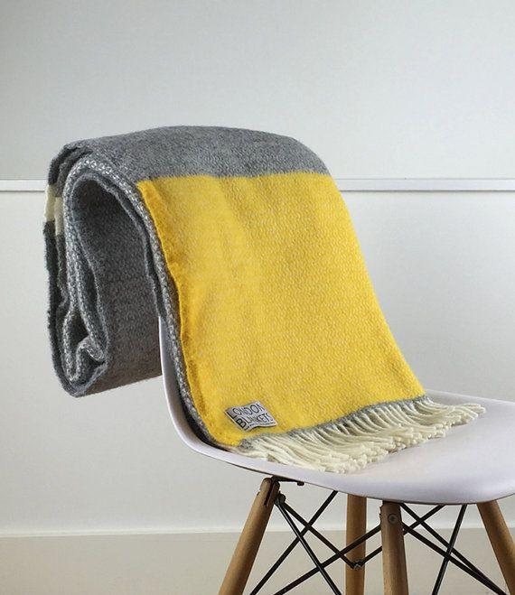 Beautiful Yellow Grey Throw Blanket 100% Wool Yellow Grey By LondonBlankets