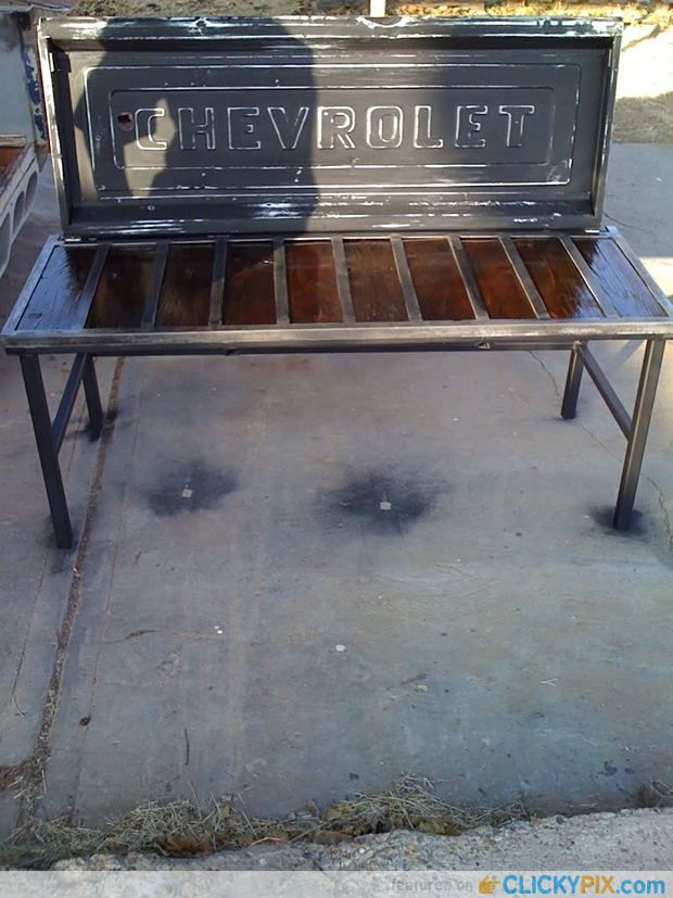 Tailgate Bench from old tailgates - Chevrolet Chevy pickup #upcycle #repurpose #recycle