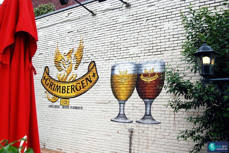 Muurschildering met grimbergen reclame logo en bierglazen verf je buitenmuur gevel - Grijs muurschildering ...