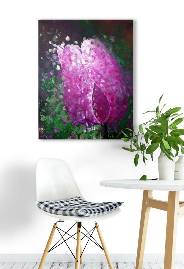 "24""x30"" Original Art, Tulip Painting, Floral Art, Wall Art, Home Decor, Flower Painting, MerilynDcruzFineArt by MerilynDcruz on Etsy"