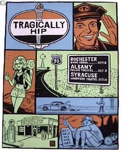 Tragically Hip tour poster. Design by Ward Sutton.