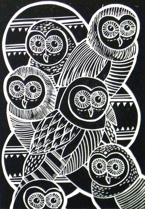 Owls Original Lino Cut Print (Black)  or thick gold/silver/bronze paint