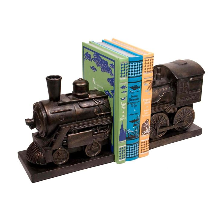 Perhaps this one's for all those steamy novels? Our vintage inspired steam engine bookend set is perfect for any books you love, and fits right into any industrial modern theme you've got going on.  Find the Steam Train Bookends, as seen in the Powered by Steam Collection at http://dotandbo.com/collections/powered-by-steam?utm_source=pinterest&utm_medium=organic&db_sku=105010