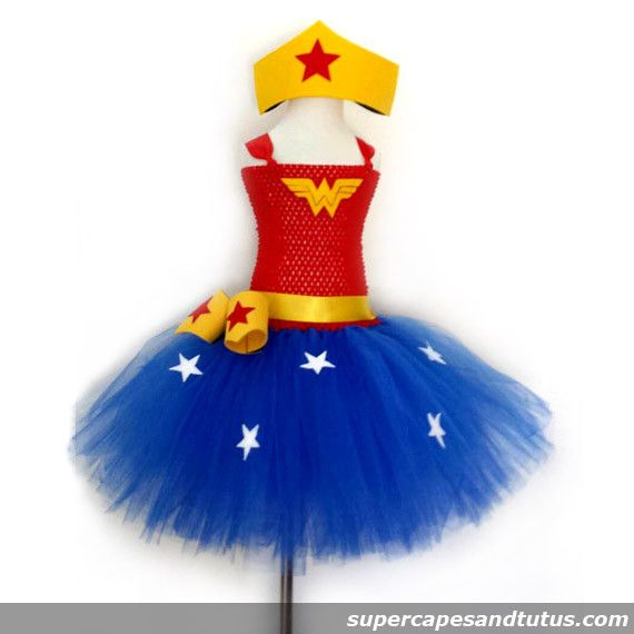 Wonder Woman Inspired Tutu Dress with Crown and Wristband Cuffs